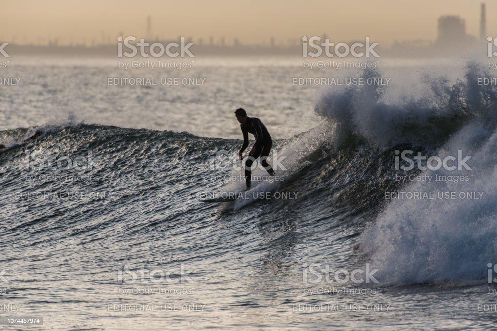 Northwest swell hits the southern California coast stock photo