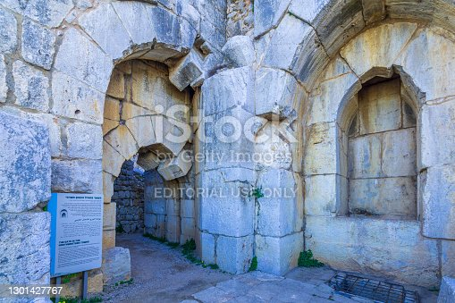 Nimrod, Israel - February 09, 2021: View of the northwest tower gate, in the Medieval Nimrod Fortress, the Golan Heights, Northern Israel
