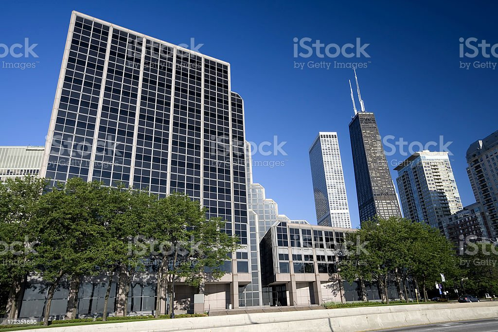 Northwestern University, and Hancock Center royalty-free stock photo