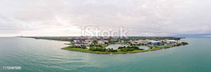 Aerial panoramic view of Northwestern University campus. Downtown Chicago is visible on the very left of the image.