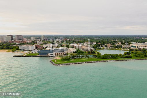 Aerial view of Northwestern University campus.