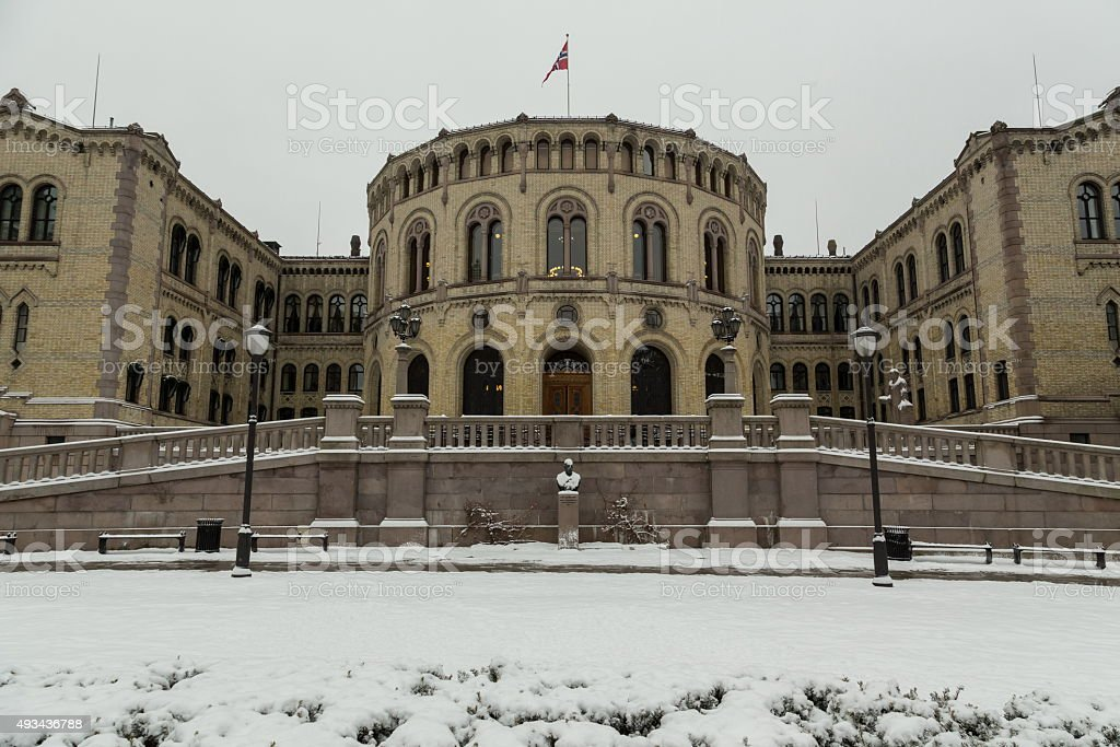 norwagian parliament stock photo