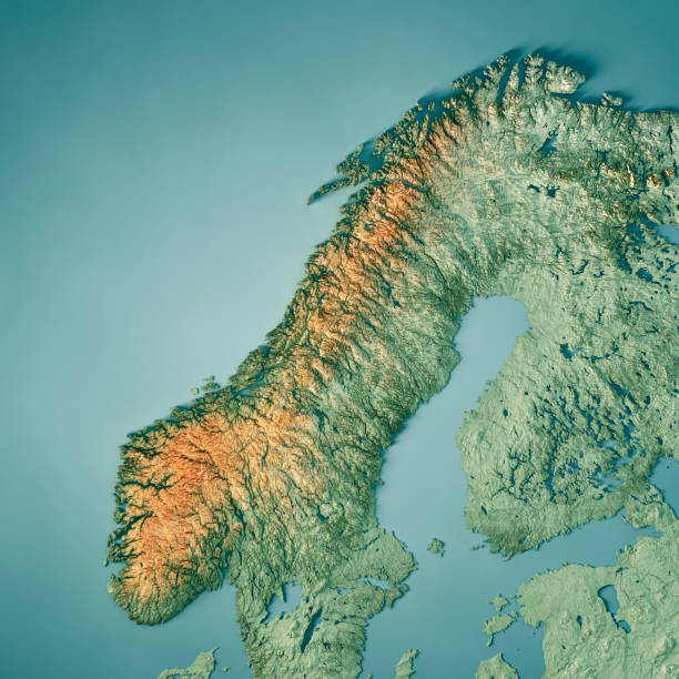 Norway 3D Render Topographic Map Color stock photo