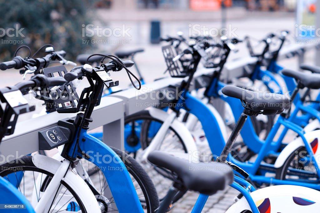 Norway bicycle public yard background stock photo
