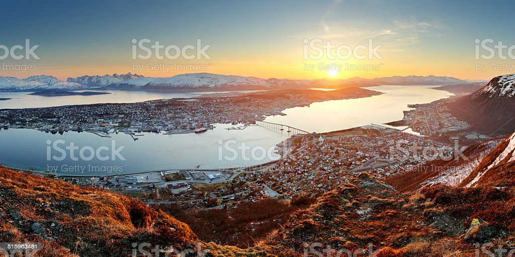 Norway city panorama - Tromso at sunset stock photo