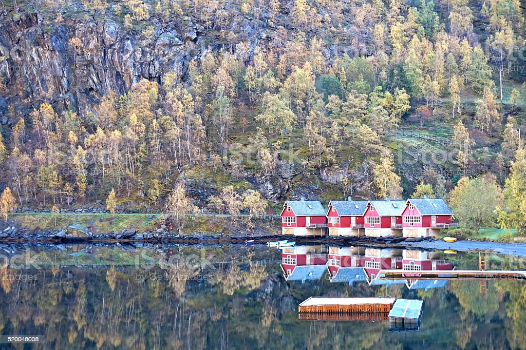 Norway Cottages stock photo