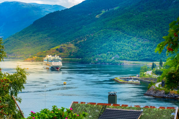 Norway cruise ship in Flam stock photo