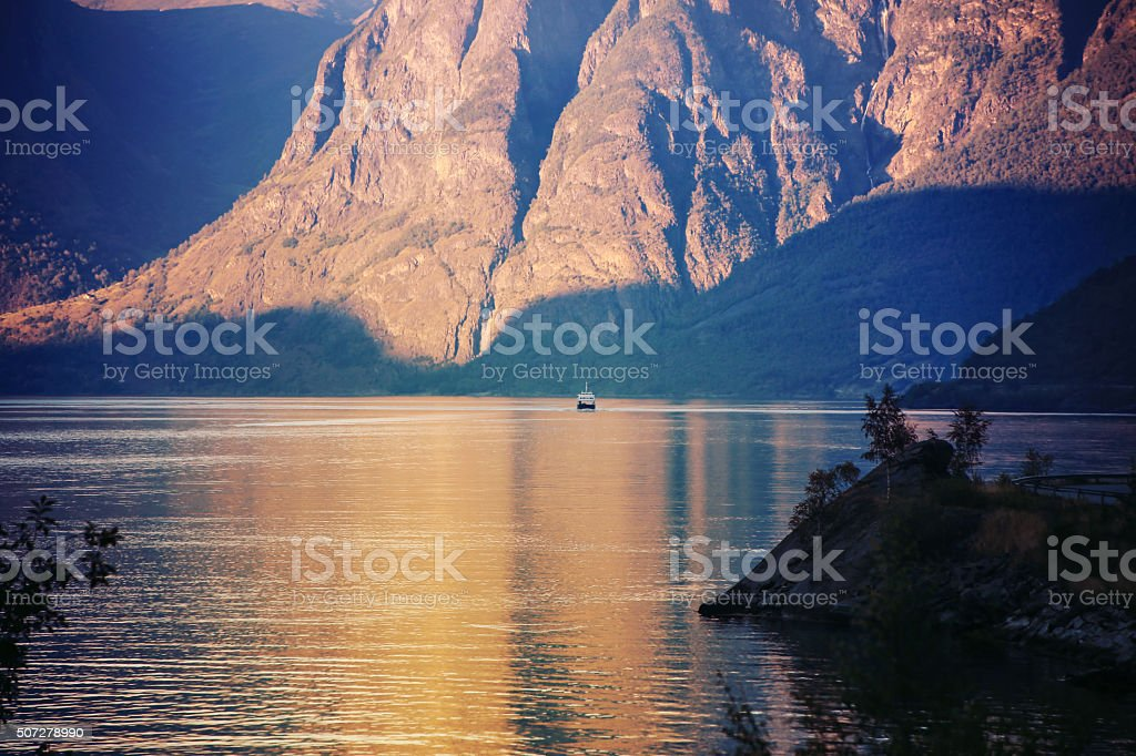 Norway, evening in Flam stock photo