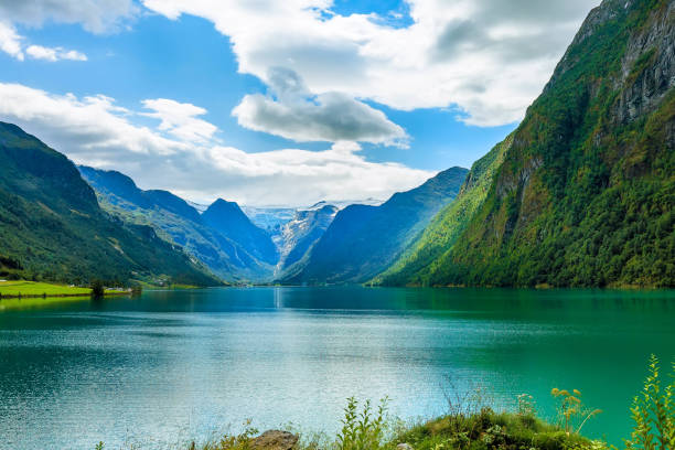 Norway fjord and glacier landscape stock photo