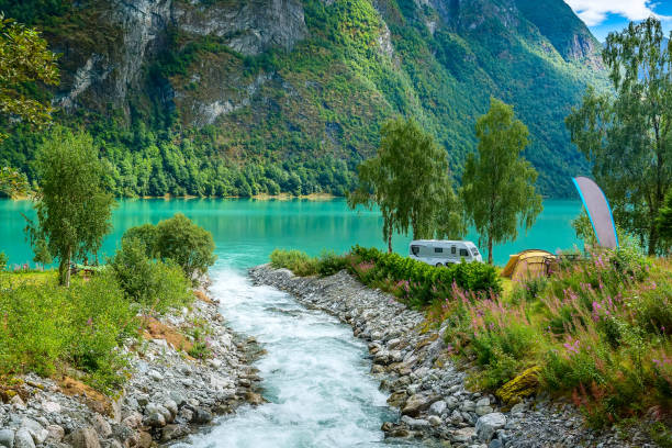 Norway fjord camping landscape stock photo