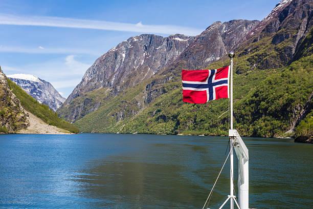norway flag in a fjord - norwegen fahne stock-fotos und bilder