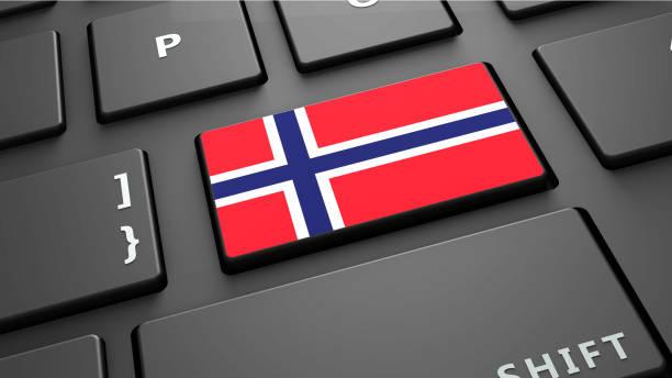 """norwegen flagge tastatur geben sie schaltfläche """"3d render - norwegen fahne stock-fotos und bilder"""
