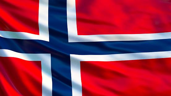 Norway flag. Waving flag of Norway 3d illustration. Oslo
