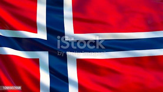 istock Norway flag. Waving flag of Norway 3d illustration. Oslo 1095932558