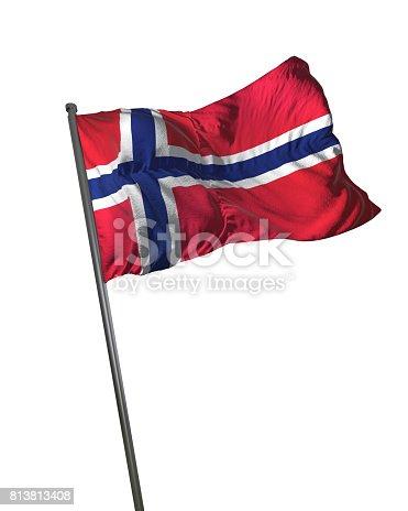 istock Norway Flag Waving Isolated on White Background Portrait 813813408
