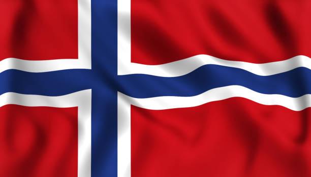 norwegen wehende norwegische flagge - norwegen fahne stock-fotos und bilder