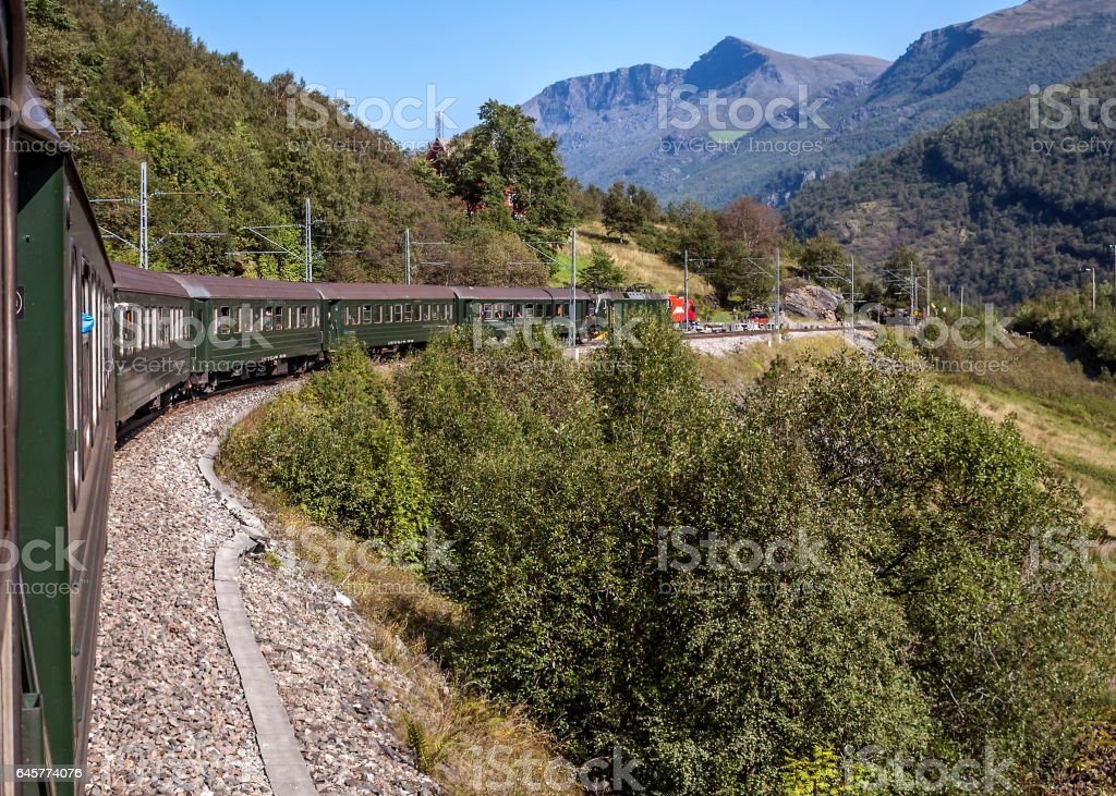 Norway - Flom railway, from station Flom to station Myrdal stock photo