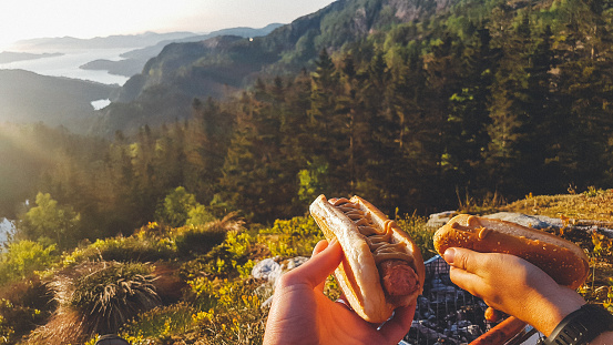 The hands of a couple holding a hot dog each, with a beautiful and stunning view on the fjord. Sausage covered with mustard. Outdoor activities, outdoor cooking. Small picknick grill on the ground.