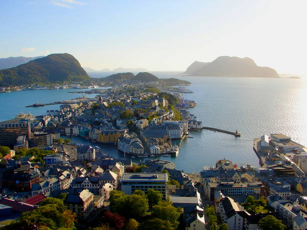 Norway: impressive Alesund Art Nouveau Cityscape bay at sunset from above, Norwegian dramatic landscape, Scandinavia – Nordic Countries stock photo