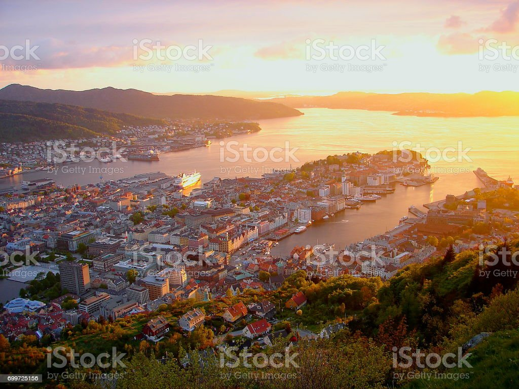 Norway: impressive Bergen Cityscape bay at gold colored sunset from above, Norwegian dramatic landscape, Scandinavia – Nordic Countries stock photo