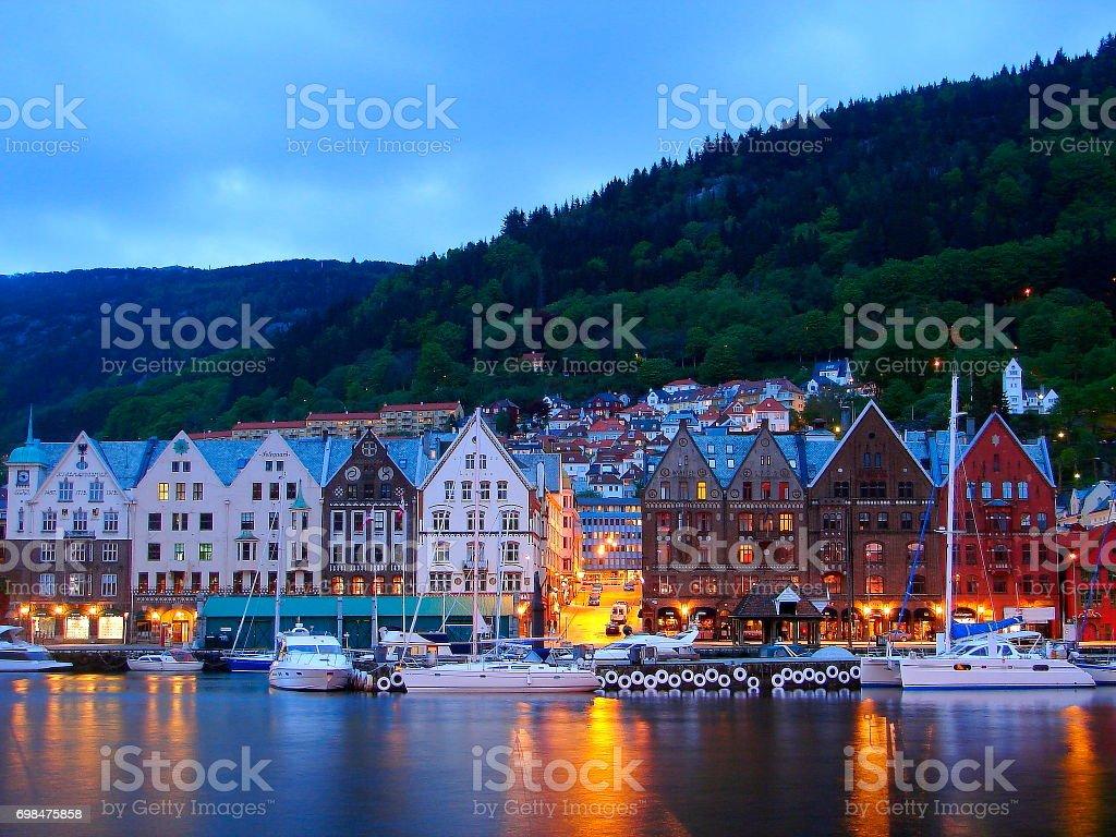 Norway: impressive Bergen Cityscape: Bryggen market bay at dusk, Norwegian dramatic landscape, Scandinavia – Nordic Countries stock photo