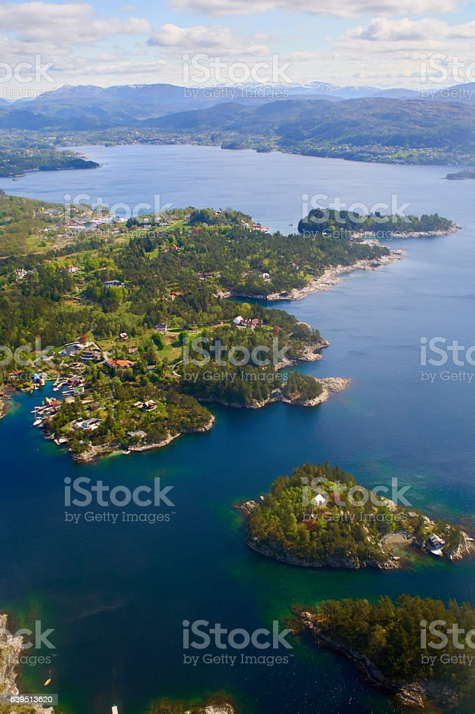 Norway islands and Fjords from the sky stock photo
