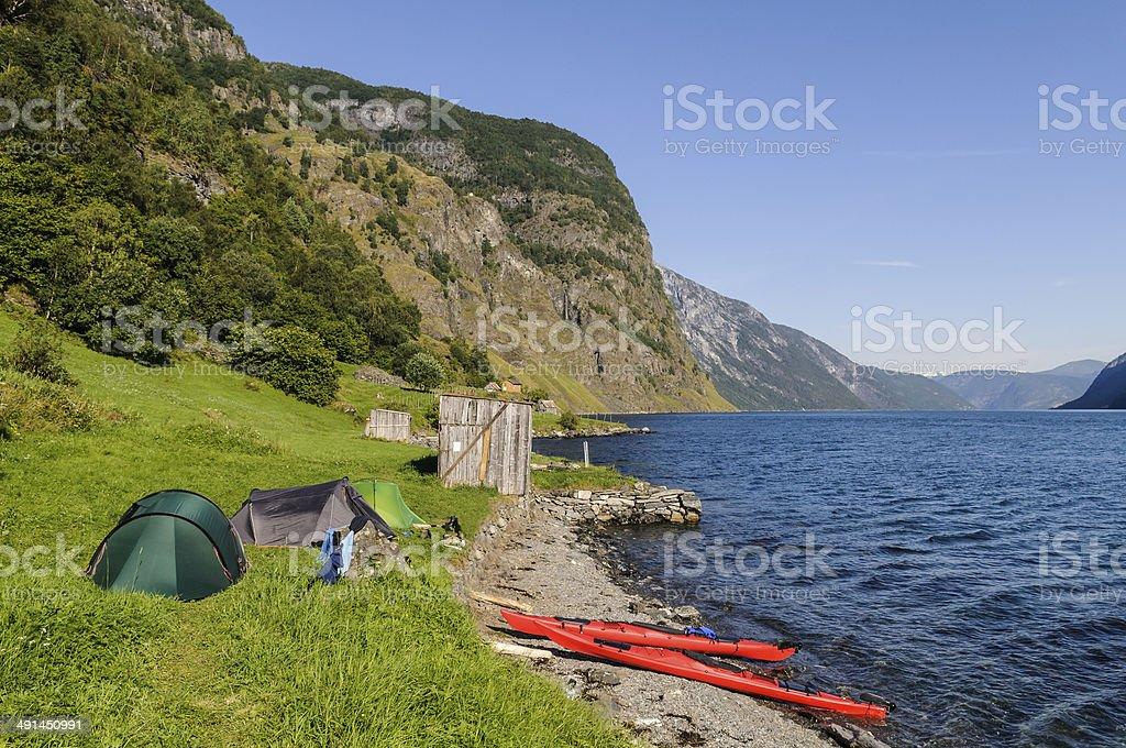 Norway Kayak Camping stock photo