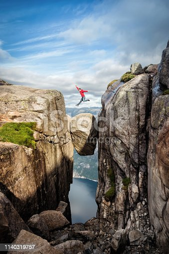 Norway Kjeragbolten Jump taken in 2017