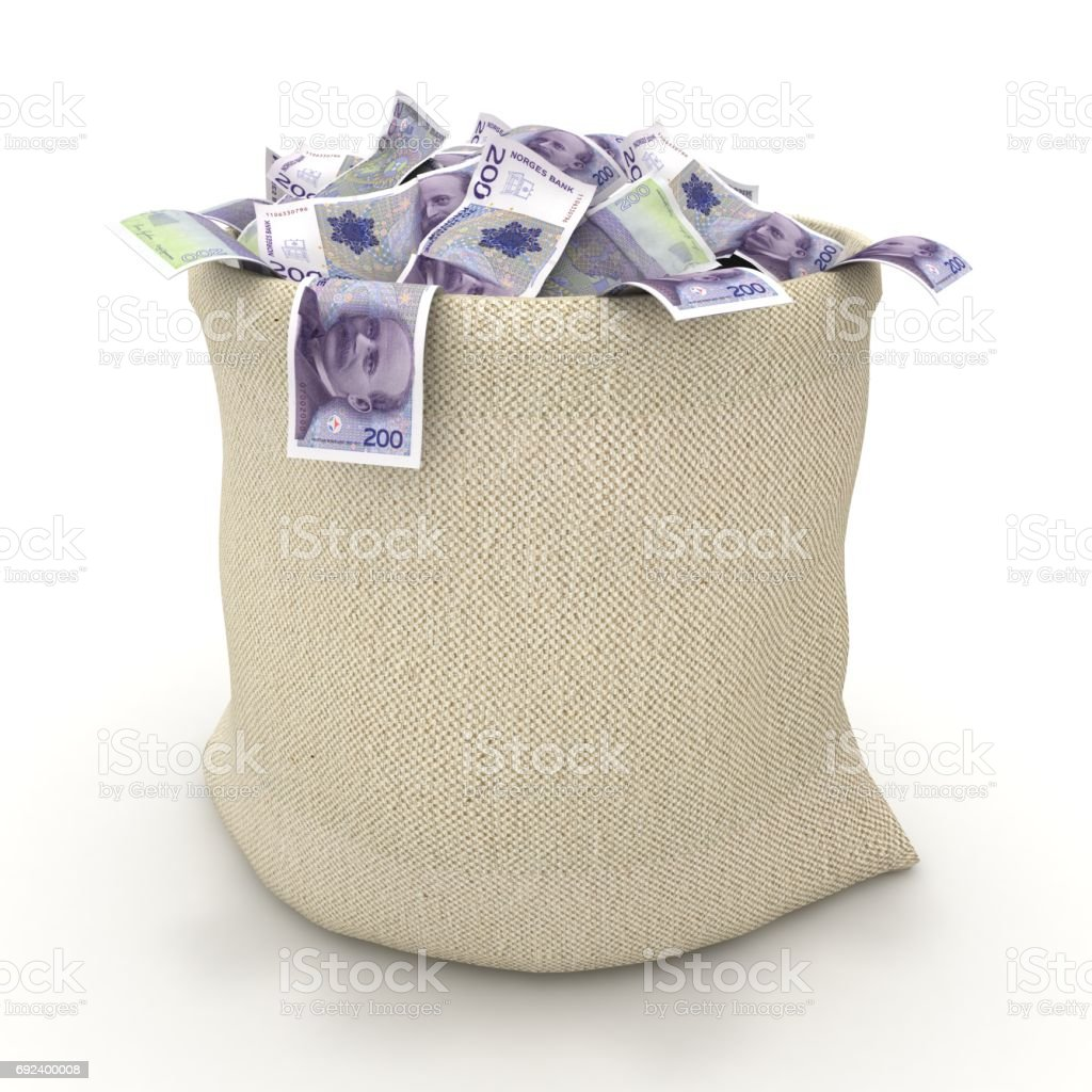 Norway krone money bag banknotes stack isolated stock photo