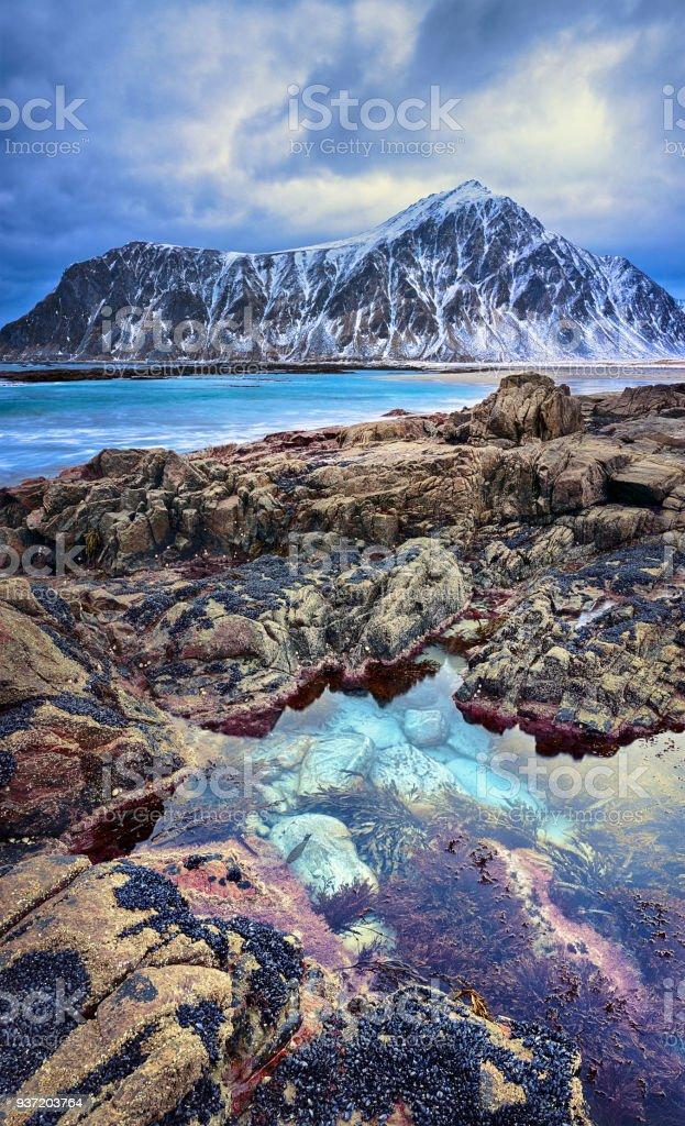 Norway landscape of picturesque arctic beach of Lofoten islands stock photo