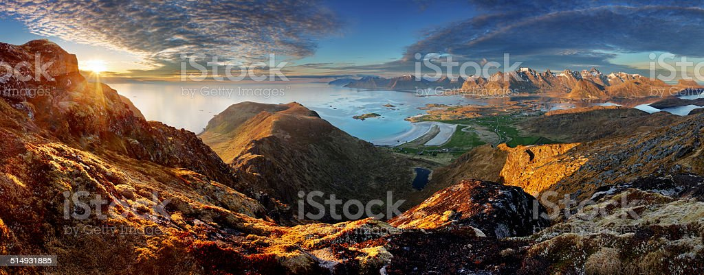 Norway Landscape panorama with ocean and mountain - Lofoten stock photo