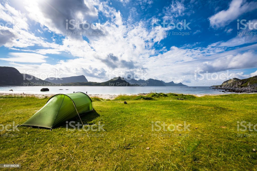ノルウェー ロフォーテン諸島 Haukland ビーチ ストックフォト