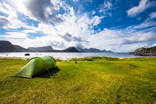 Noruega, Lofoten Haukland praia - foto de acervo