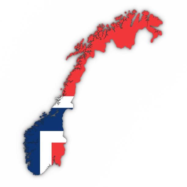 norwegen karte umriss mit norwegischer flagge auf weiß mit schatten 3d illustration - norwegen fahne stock-fotos und bilder