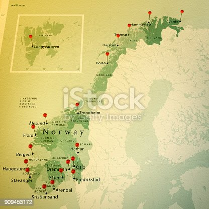 istock Norway Map Square Cities Straight Pin Vintage 909453172