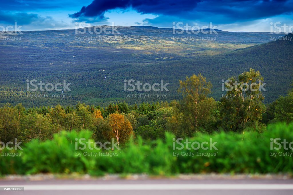 Norway mountain transportion road with bokeh background stock photo