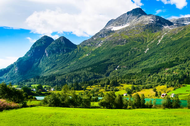 Norway mountain village and fjord landscape stock photo