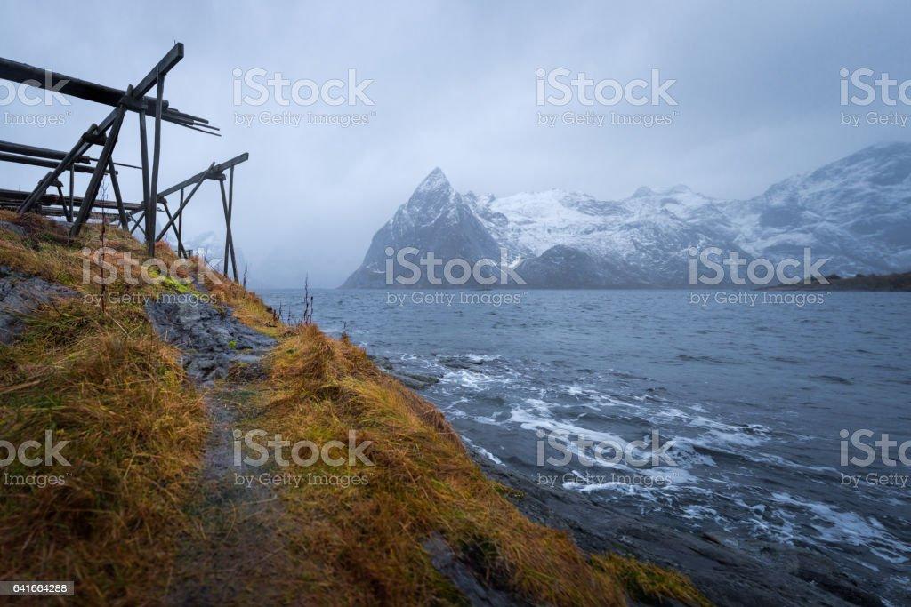 Norway mountain winter landscape stock photo