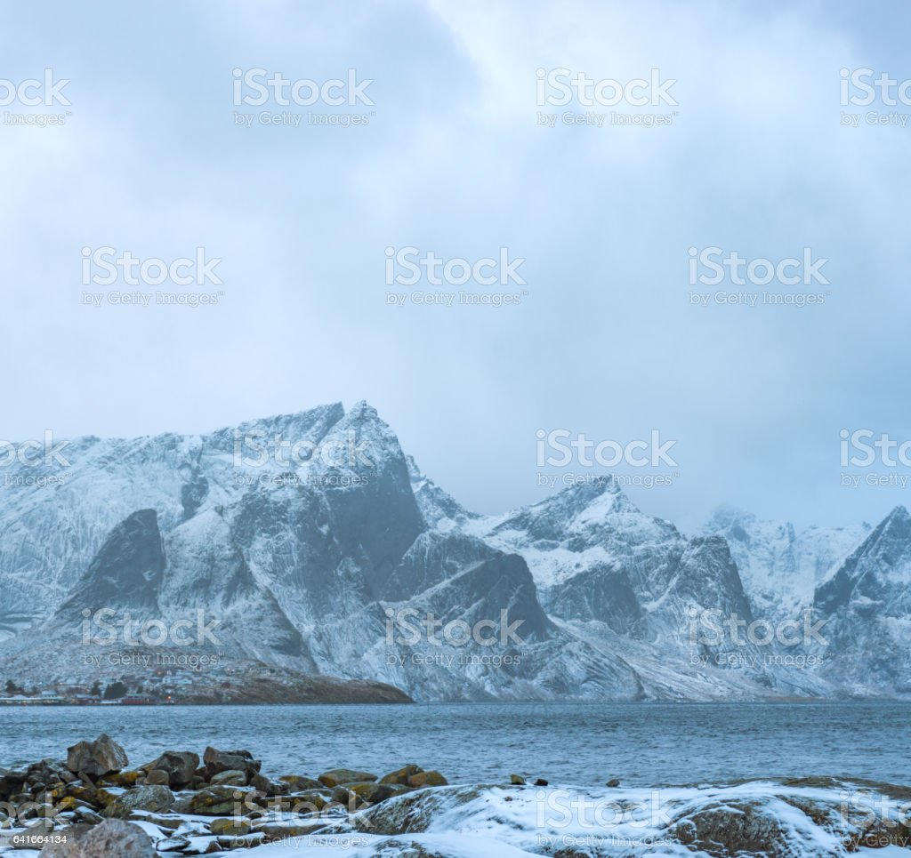 Norway mountains winter landscape stock photo
