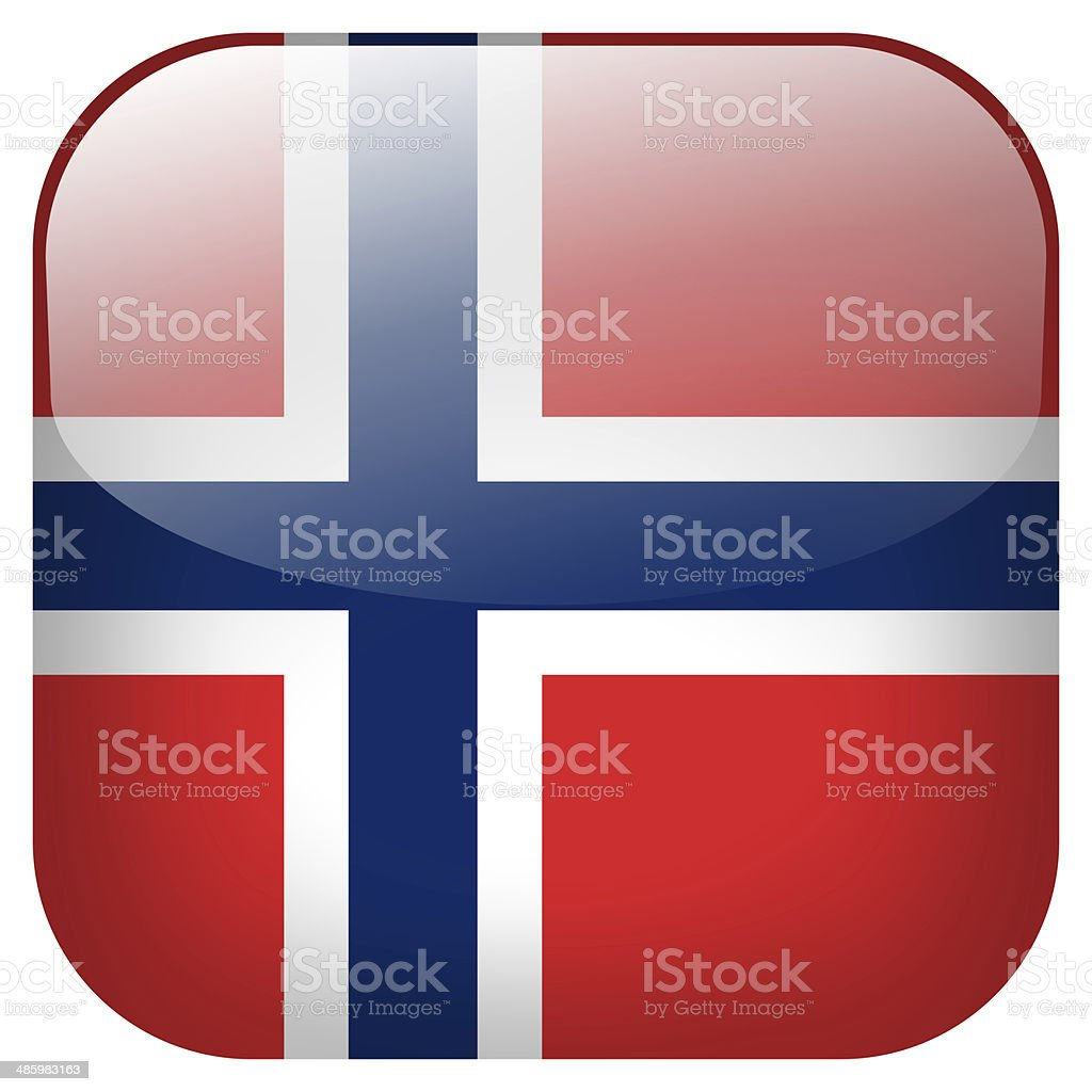 Norway national flag square button isolated on white background royalty-free stock photo
