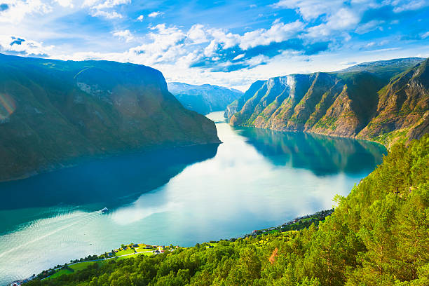 Norway Nature Fjord Sognefjord Norway Nature Fjord, Summer Sognefjord. Sunny Day, Landscape With Mountain, Pure Water Lake, Pond, Sea norwegian culture stock pictures, royalty-free photos & images