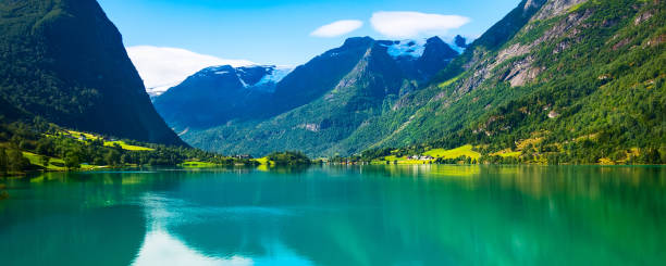 Norway Nordfjord panorama and mountain landscape stock photo
