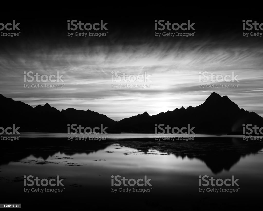 Norway ocean mountains landscape stock photo
