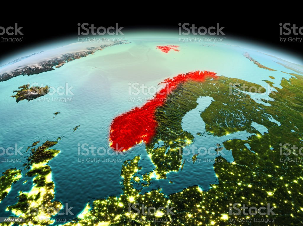 Norwegen auf dem Planeten Erde im Weltraum – Foto