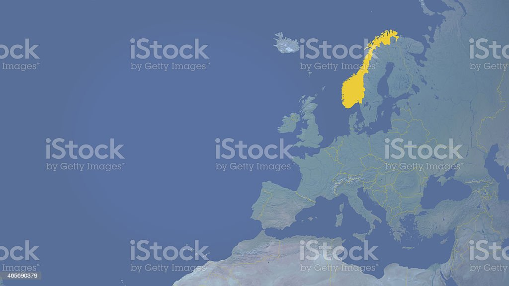 Norway outside  European Union  16:9 with borders royalty-free stock photo
