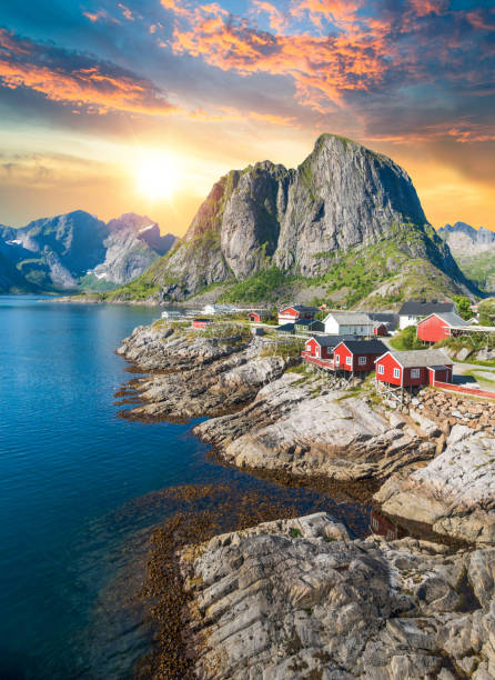 Norway Panoramic view of Lofoten Islands in Norway with sunset scenic Norway Panoramic view of Lofoten Islands in Norway with sunset scenic norwegian culture stock pictures, royalty-free photos & images