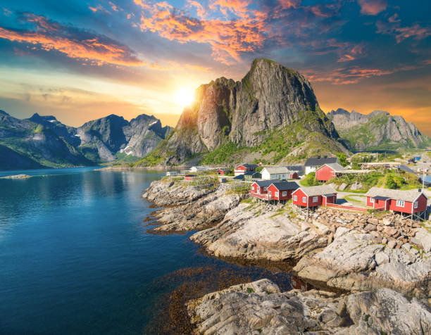 Norway Panoramic view of Lofoten Islands in Norway with sunset scenic stock photo
