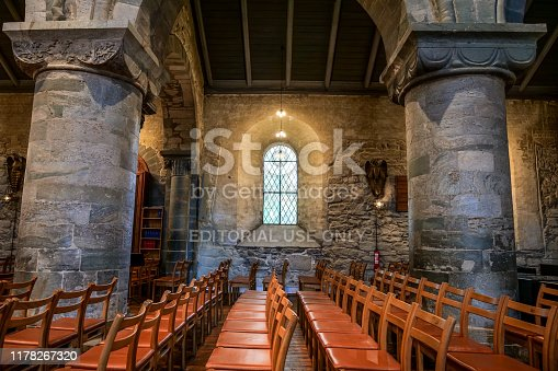 Stavanger, Norway, September 29 - A view of the interior of the Stavanger Cathedral (Stavanger Domkirke), whose construction dates back to the 12th century and current seat of the Church of Norway (Den norske kirke) in the town. In 1272 a fire destroyed the church, which was rebuilt in 1276. The city of Stavanger, in the south of Norway, is among the favorite tourist destinations of thousands of tourists, especially visiting cruise ships that sail the routes of northern Europe and the Norwegian coast. Photo in HD format.