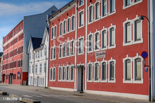 Stavanger, Norway, August 15 - A view of the facade building on the touristic port of Stavanger. The city of Stavanger, in the south of Norway, is among the favorite tourist destinations of thousands of tourists, especially visiting cruise ships that sail the routes of northern Europe and the Norwegian coast. Image in HD format.