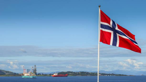 Norway - Stavanger - Oil - Platform - Norwegian Flag - No people stock photo